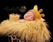 "CLEARANCE- 23"" x 20"" Mongolian faux fur in Golden brown,Newborn Rug, Newborn blanket, Newborn prop fur"