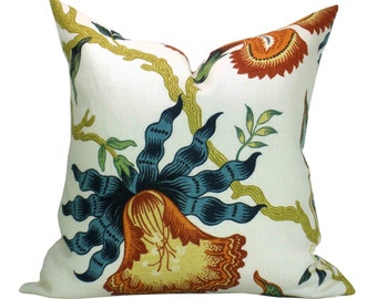Hothouse Flowers pillow cover in Spark - orange/blue flower