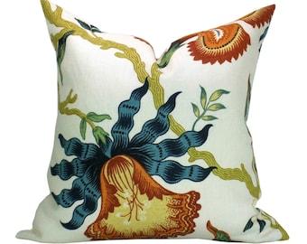 Schumacher Hothouse Flowers pillow cover in Spark - orange/blue flower