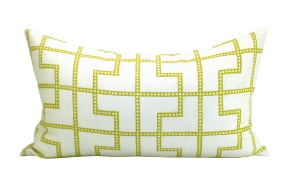 Schumacher Bleecker lumbar pillow cover in Absinthe