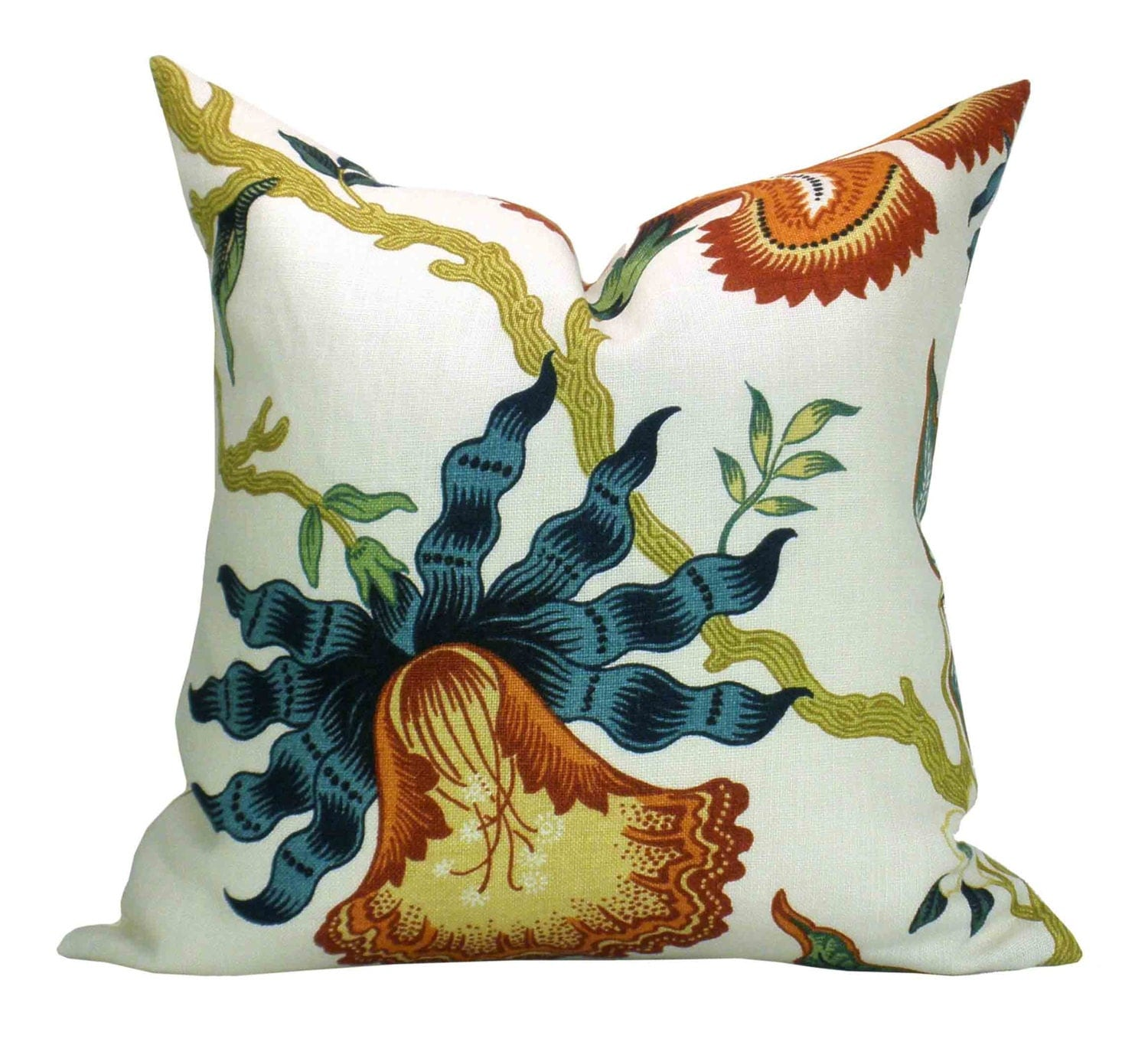 Hothouse Flowers pillow cover in Spark orange blue flower