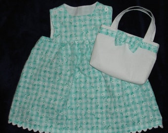 Pretty Mint Green and White  Dress with Matching Purse - Toddler Girl Size 2T