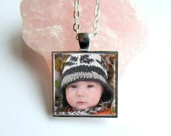 Photo Necklace, Custom Photo Pendant, Baby Keepsake Jewelry