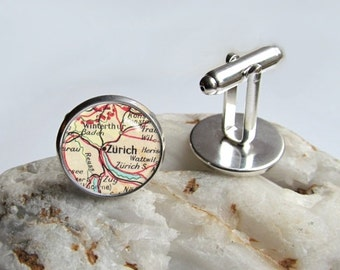 Custom Vintage Map Cufflinks, Personalized Cuff Links, Destination Of Your Choice