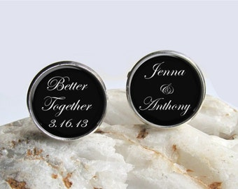 Groom Cufflinks, Personalized Wedding Cufflinks, Wedding Keepsake, Mens Cufflinks