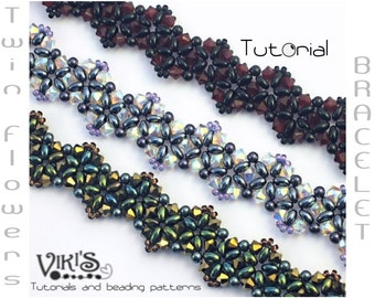 Twin Flowers Bracelet Tutorial with Twin beads: Twin Flowers ( INSTANT DOWNLOAD PDF)
