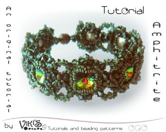 Bracelet Tutorial with Swarovski rivolis: Amphitrite Beaded Bracelet - DIGITAL DOWNLOAD PDF