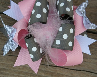 pinkand grey over the top-pink and grey hair bows