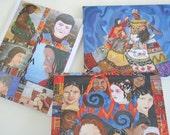 Note Card Set Original Art - Set of 5 Original Paintings Prints with Envelopes Strength in Being Woman