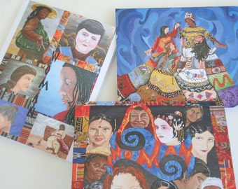 Note Card Set Original Art - Set of 5 Original Paintings Prints with Envelopes Strength in Being Woman
