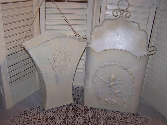 Decorative Wall Pockets Metal : Lot metal tin flower basket plant holder wall pocket