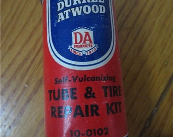 Vintage Durkee Atwood Tube & Tire Repair Kit Self-Vulcanizing tin has contents kitschy advertising