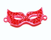 SALE NEW Red Rhinestone Charm  Masquerade Mask Connector