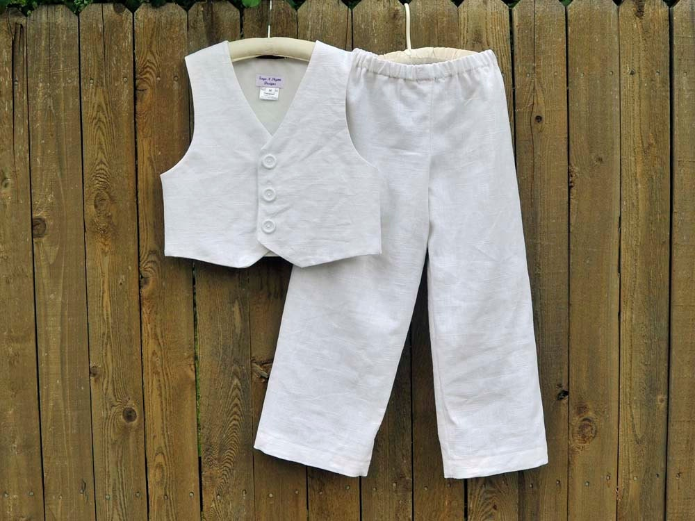 White Linen Pants and Vest Boys linen suit by SageNThymeDesigns