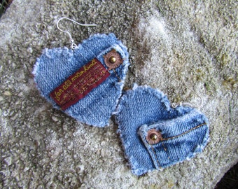 Earrings - Heart Shaped Recycled Seven for All Mankind Designer Denim - Upcycled