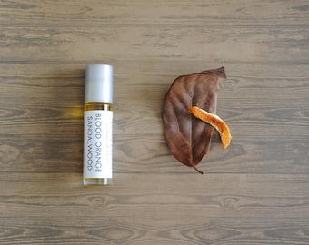 Blood Orange Sandalwood Perfume Oil, Roll On Perfume Citrus Musk Woodsy Fragrance Vegan