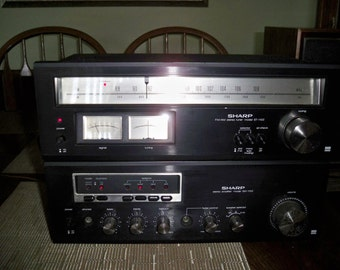 Vintage 2 Piece Black Sharp Stereo Tuner and Ampliflier