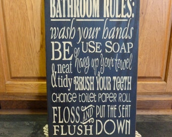 "Primitive Large ""Bathroom Rules"" subway typography wooden sign - your color choice"
