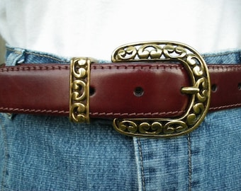 vintage fossil leather belt brass scroll buckle m