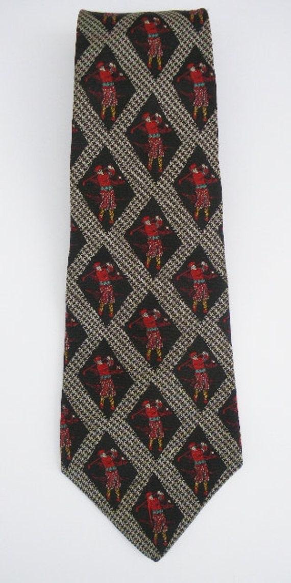 vintage 80s golfer necktie nautica silk wide tie old fashion red tartan plaid scotsman made in usa