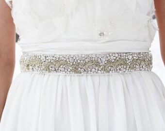 ENGRID - Beaded Rhinestone Wedding Sash, Bridal Belt