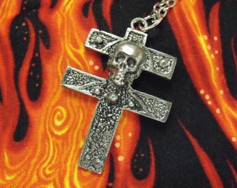 Silver Pendant Necklace, Gothic Cross Of Lorraine Large,  Mens Womens Gift   Handmade