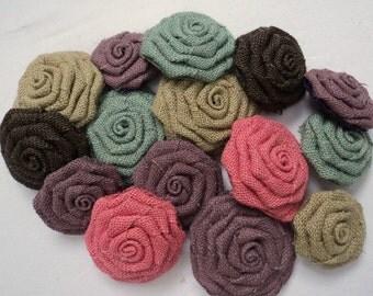 Burlap Roses Choose Your Colors Lot of 6 Burlap Flowers Shabby Chic Wedding Decor