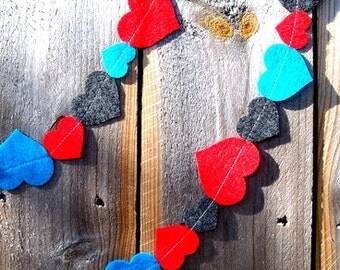 SALE Valentine's Day Heart Felt Garland Red Gray Turquoise