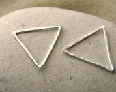 Silver or Vermeil Triangle Geometric Connector Pendant - 1 Pair