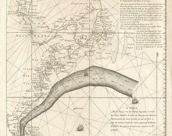 1785 Nautical Chart of The Gulf Stream