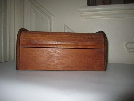 Vintage Kalmar Designs Teak Wood Roll Top Double Card File