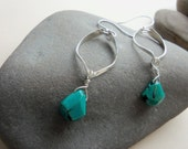 Turquoise drop earrings in silver . turquoise earrings, teal earrings, teardrop earrings silver