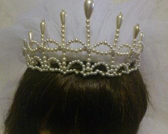 Wedding Tiara, Bridal Tiara, Medieval Tiara, Medieval Headpieces, Renaissance Tiara, Pearl Tiara