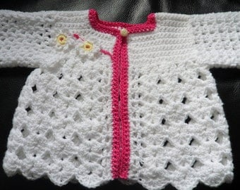 Instant Download  VKNC297 Baby matinee coat with flower and leaves easy girls Crochet Pattern PDF - INSTANT download