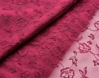 Dark Red Raspberry Embroidered Floral Lace Fabric, Floral Tulle, Bides Maids Dress, Prom Dress