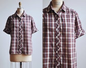 1980s Plaid Blouse / White, Black & Red Checked Button Down