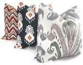 Nate Berkus Blue, Taupe and Red Ikat Decorative Pillow Cover, LUMBAR  pillowAccent Pillow, Throw Pillows, Ikat pillow