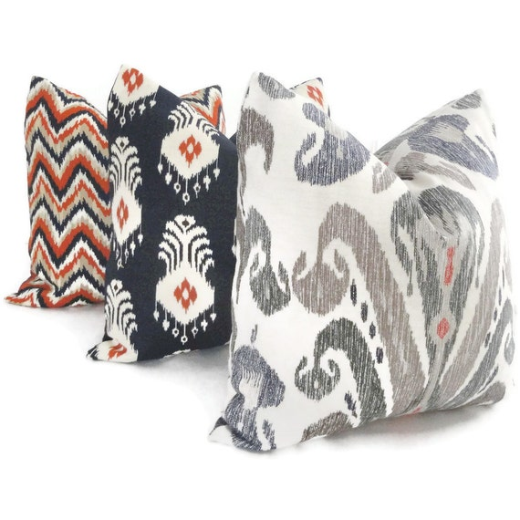Nate Berkus Blue Taupe And Red Ikat Decorative Pillow By