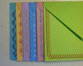 Stationery Set  6 Sewn Note Cards with Envelopes