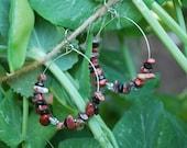 Upcycled Jasper Hoop Earrings---RESERVED