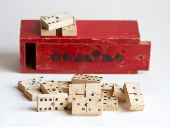 Antique red box of dominoes from Mean Glean