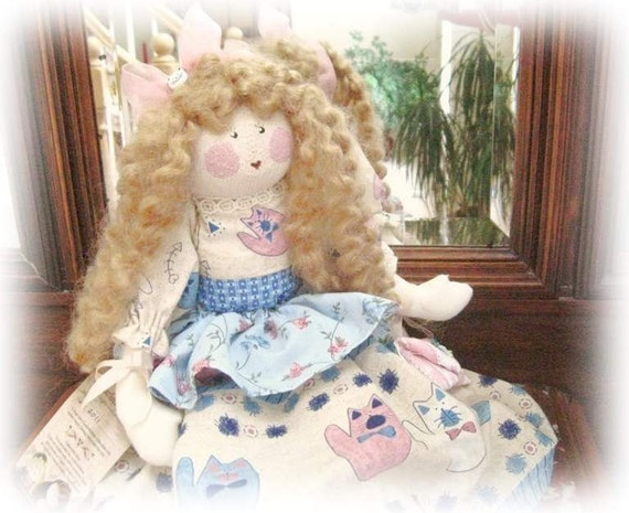 OOAK Art Doll Cloth Doll ALICE 17 inch Handmade CharlotteStyle SIGNED Soft Sculpture