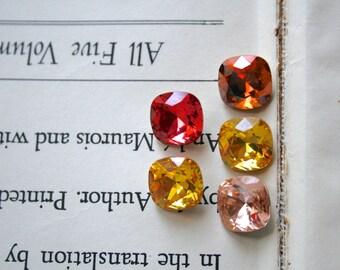 Grab Bag - Cushion Cut Square Swarovski Crystal Earrings, Estate Style, Pink, Orange, Yellow, Topaz