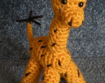 Hand Crocheted Giraffe Doll Amigurumi Animal Yellow with brown spots Made To Order
