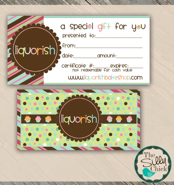Bake Shop Gift Certificate Template By Sillychickdesign On