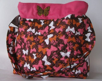 SALE...........Embroider quilt purse in pink, orange,  brown and white butterfly with embroider butterfly