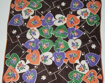 SALE - Vintage 1930s Deco Playing Cards Spades Flowers Hankie