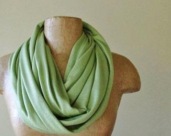 WASABI GREEN Infinity Scarf - Lightweight Cotton Jersey Loop Scarf - Handmade Wasabi Green Circle Scarf