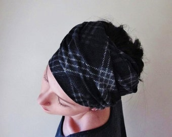 PLAID Head Scarf - Black and Grey Headband - Pattern Jersey Hair wrap, Ear Warmer - Plaid Scarf - Womens Hair accessories