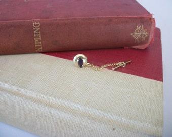 Vintage Tie Tack Purple Amethyst Stone